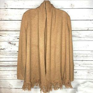 Avellini fringe open front wool cardigan size M